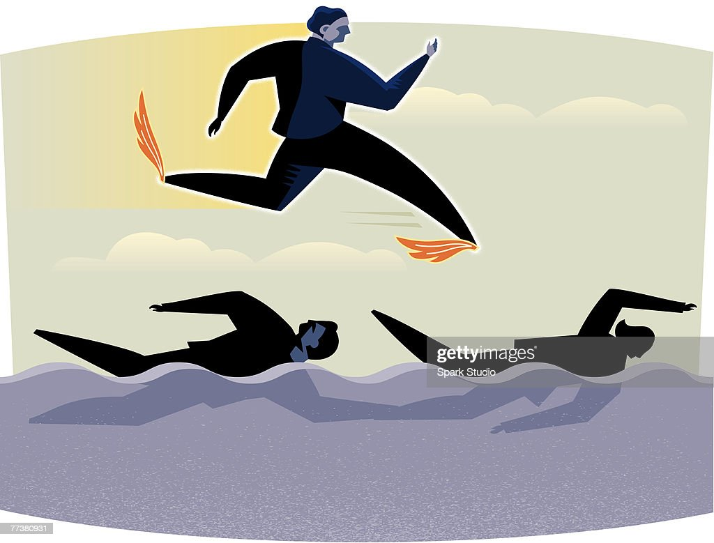 A businessman flying over people swimming : Illustration
