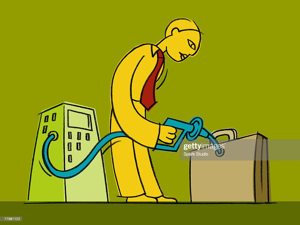 A businessman fueling a briefcase with a pump : Illustration
