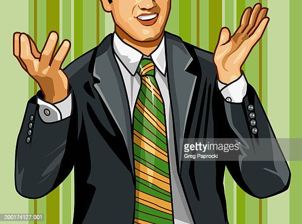 businessman gesturing with hands, mid section - shrugging stock illustrations, clip art, cartoons, & icons