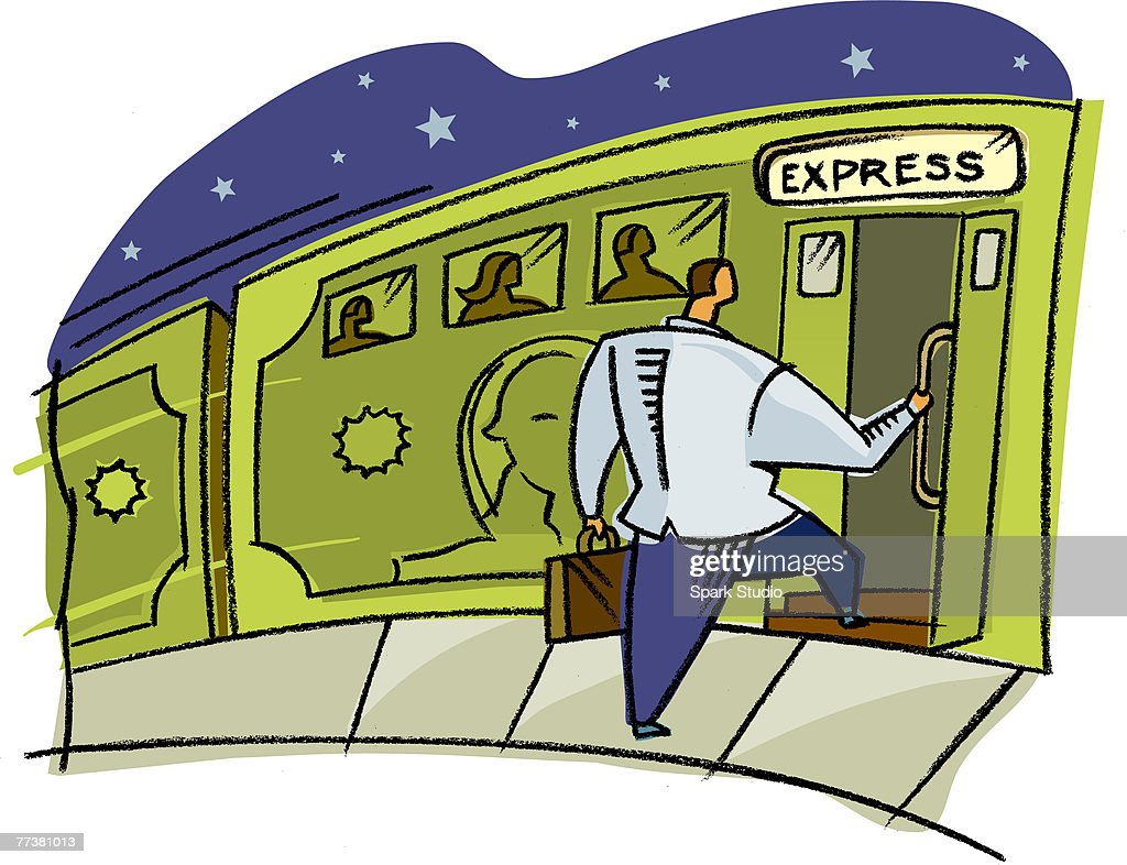 A businessman getting on the express train : Illustration