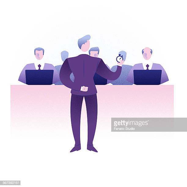 businessman giving presentation to colleagues - employee engagement stock illustrations