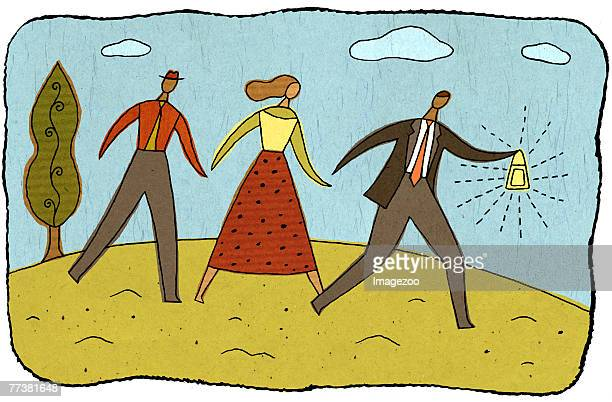 businessman guiding the way for other businesspeople - other stock illustrations, clip art, cartoons, & icons