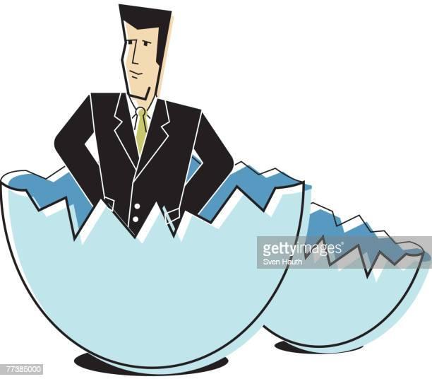 ilustrações de stock, clip art, desenhos animados e ícones de a businessman hatching from an egg - bebe chegando