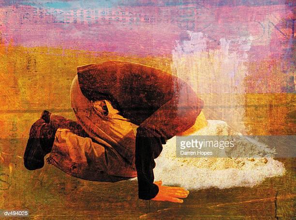 businessman hiding head - ignoring stock illustrations, clip art, cartoons, & icons