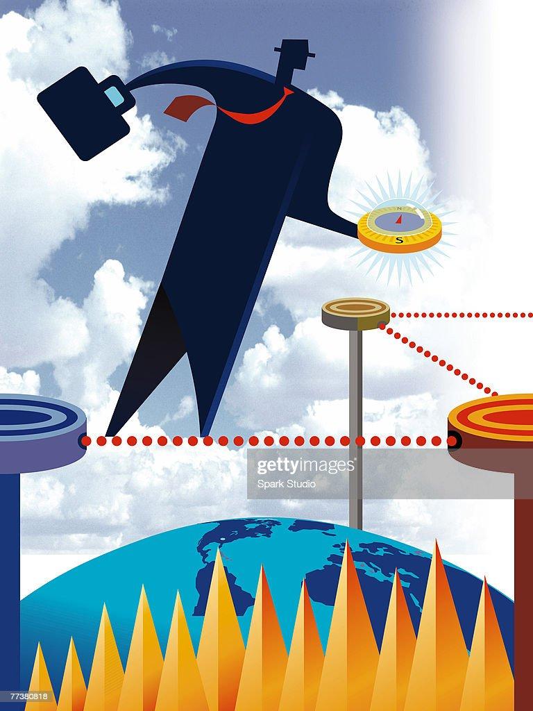 A businessman holding a compass : Illustration