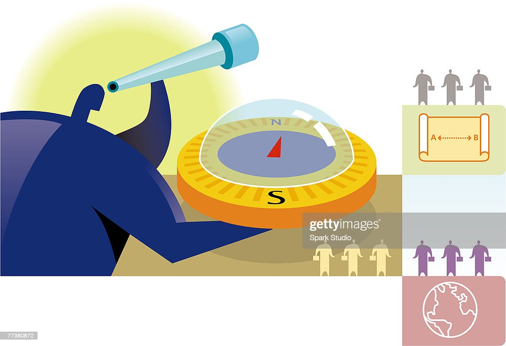 A businessman holding a compass while looking through a telescope : Illustration