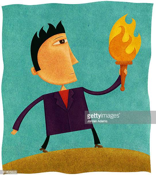 A businessman holding a flaming torch