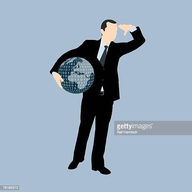 illustrations, cliparts, dessins animés et icônes de a businessman holding a globe of the world and looking into the distance - regarder