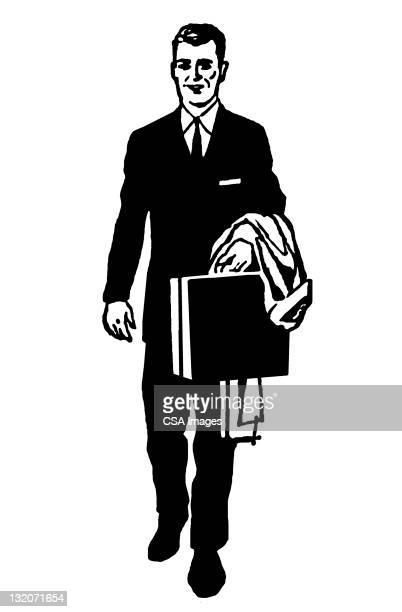 ビジネスマンをブリーフケースやコート