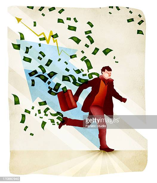 businessman holding briefcase and running - price gouging stock illustrations