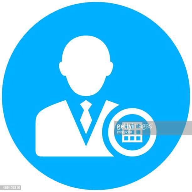 ilustrações, clipart, desenhos animados e ícones de empresário no ícone de um botão redondo. - livro de exercícios