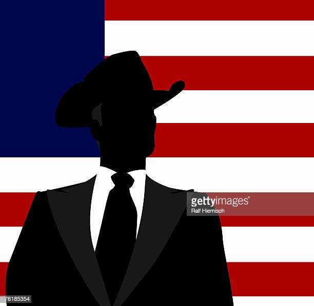 a businessman in a hat in front of the american flag - national flag stock illustrations