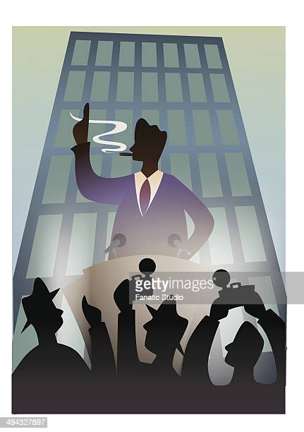businessman in a press conference - camera stand stock illustrations, clip art, cartoons, & icons