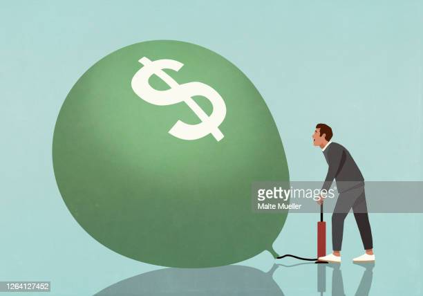 businessman inflating dollar sign balloon with tire pump - motivation stock illustrations