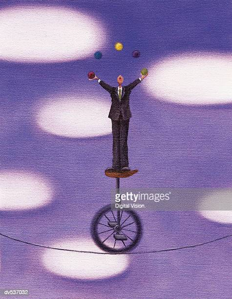 Businessman juggling while riding a unicycle