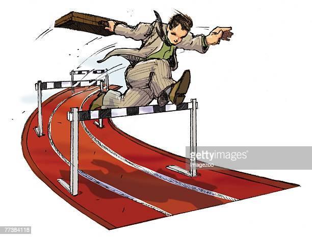 businessman jumping hurdles