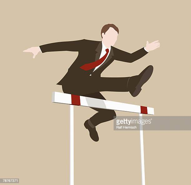 a businessman jumping over a hurdle - hurdle stock illustrations