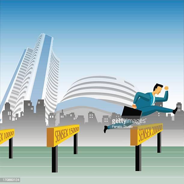 ilustrações de stock, clip art, desenhos animados e ícones de businessman jumping over sensex hurdles - pista de atletismo