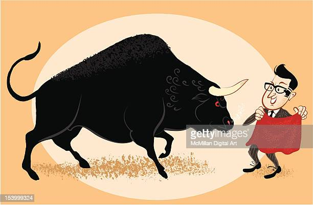 Businessman leading bull in bullfight