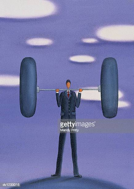 businessman lifting a dumbbell - mandy pritty stock illustrations