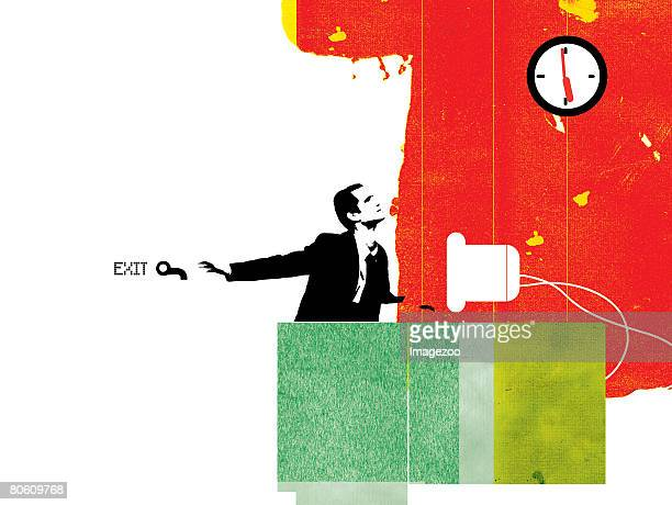 illustrations, cliparts, dessins animés et icônes de businessman looking at a clock while he anticipates the end of the work day - impatient