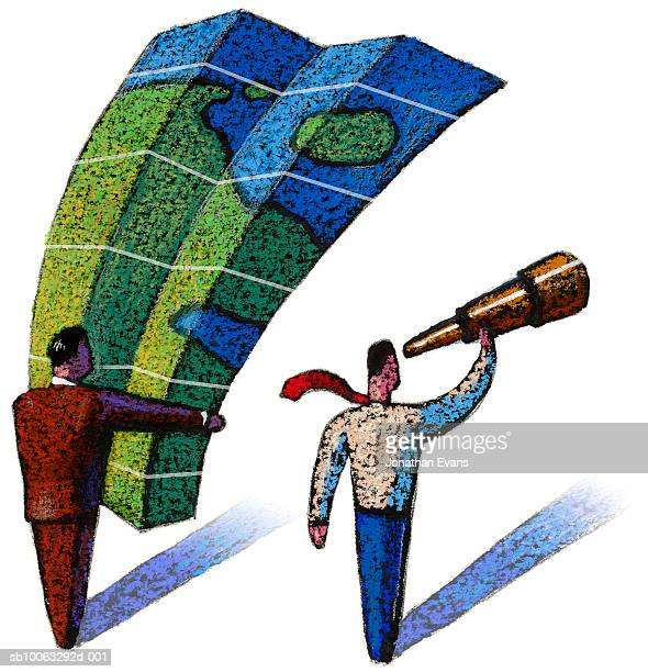 businessman looking at map, other looking through telescope, illustration - other stock illustrations, clip art, cartoons, & icons