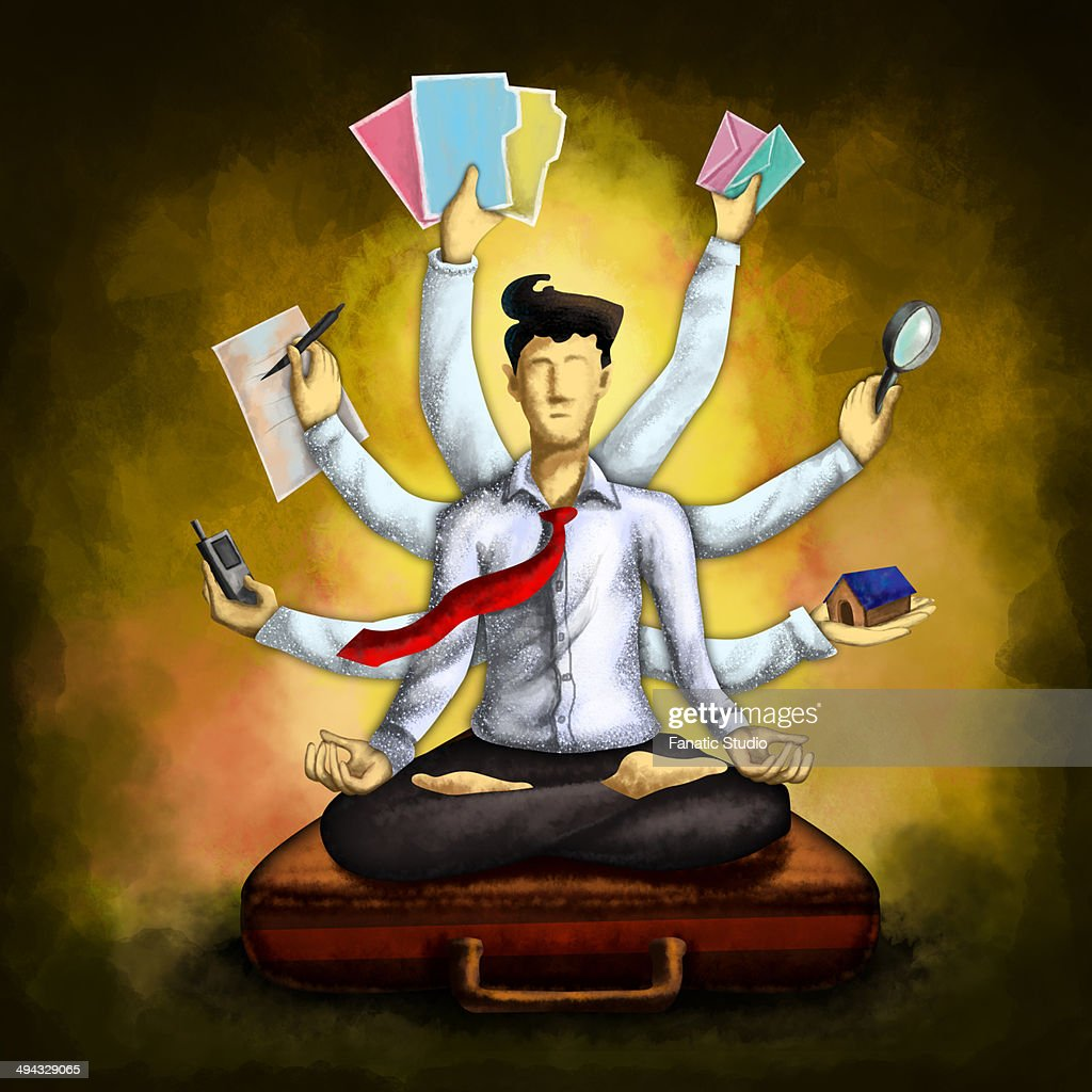 Businessman meditating while sitting in lotus position on briefcase with multiple hands holding various things over colored background depicting multi-tasking : Stock Illustration