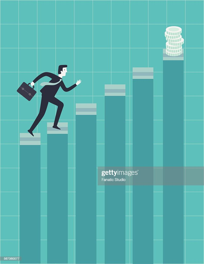 businessman moving up the ladder to grab incentives of his performance vector art
