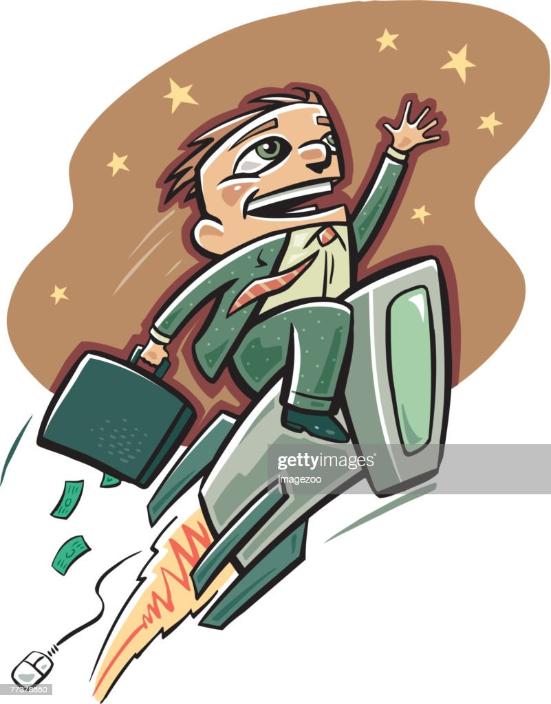 businessman on a computer rocket : Illustrazione stock