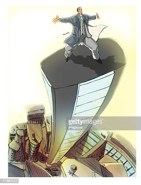 businessman on a tall building - spire stock illustrations, clip art, cartoons, & icons