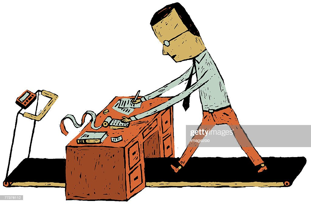 businessman on a treadmill : Illustration