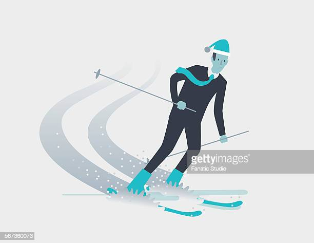 businessman on exciting holiday skiing on snow hill - full suit stock-grafiken, -clipart, -cartoons und -symbole