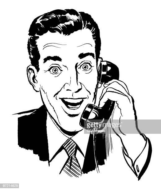 ilustraciones, imágenes clip art, dibujos animados e iconos de stock de businessman on phone - un solo hombre