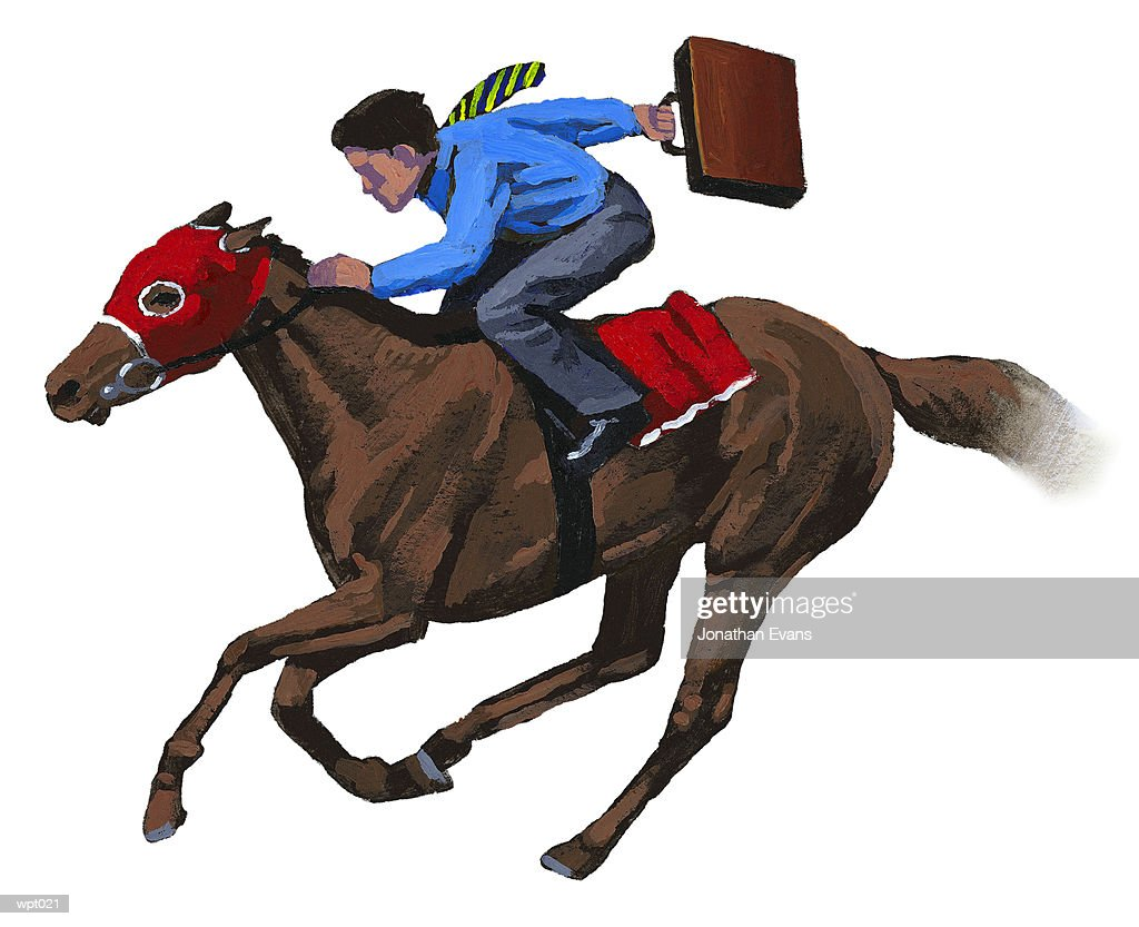 Businessman on Racehorse : Illustration