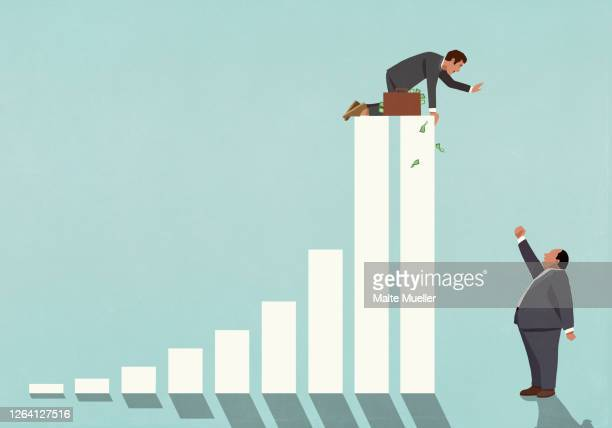 businessman on top of bar graph waving at angry boss - business stock illustrations