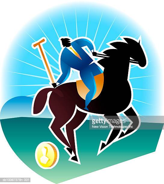Businessman playing polo