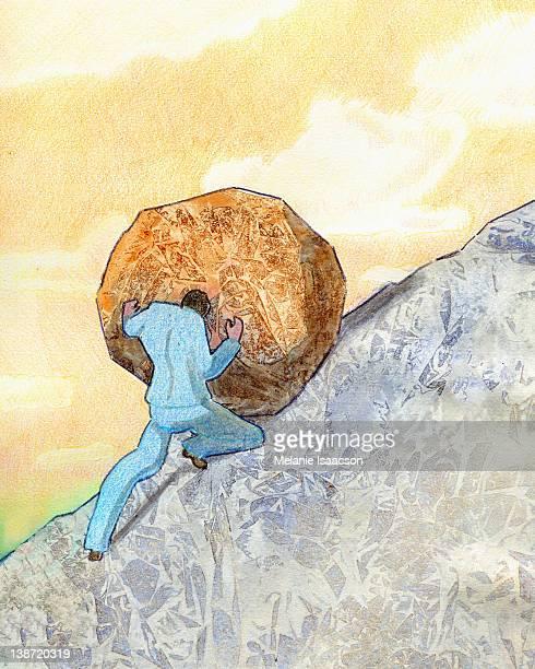 a businessman pushing a big rock up a hill - boulder rock stock illustrations, clip art, cartoons, & icons