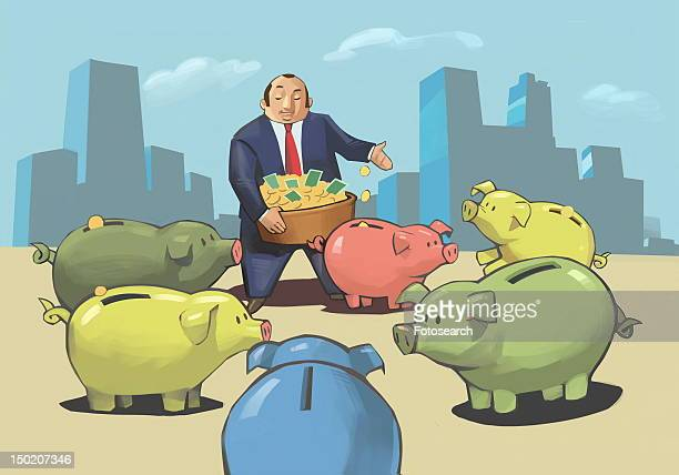 Businessman putting coins in colorful piggy banks