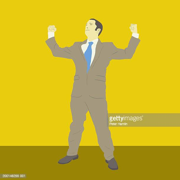 ilustraciones, imágenes clip art, dibujos animados e iconos de stock de businessman raising clenched fists - miembro humano