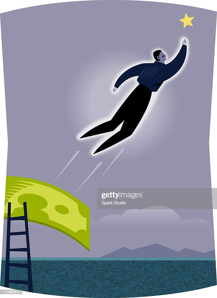 A businessman reaching for a star : Illustration
