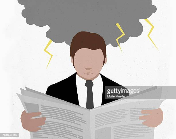 businessman reading newspaper with storm cloud representing financial crisis - headshot stock illustrations