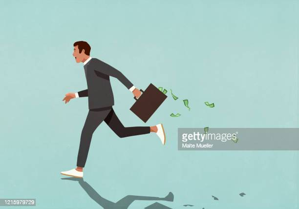 businessman running with briefcase full of cash - corporate theft stock illustrations