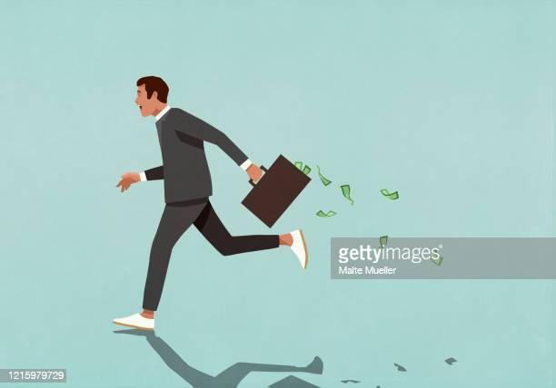 businessman running with briefcase full of cash - 有事点のイラスト素材/クリップアート素材/マンガ素材/アイコン素材