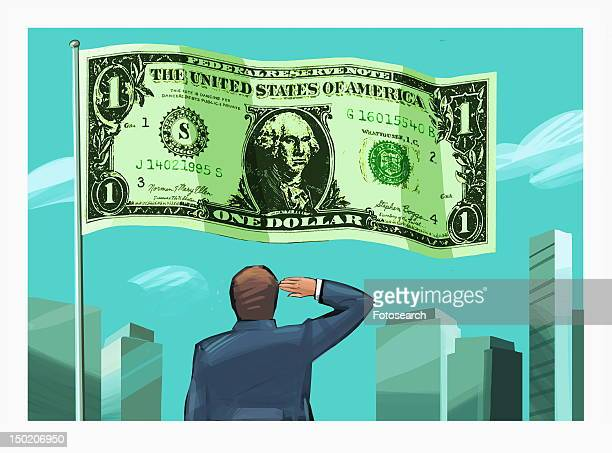 ilustraciones, imágenes clip art, dibujos animados e iconos de stock de businessman saluting dollar bill flag - capitalismo