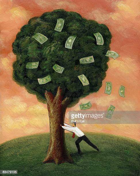businessman shaking a tree, with banknotes falling out - money tree stock illustrations, clip art, cartoons, & icons