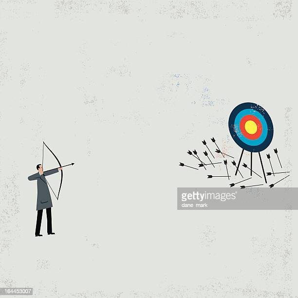 businessman shooting arrows - failure stock illustrations