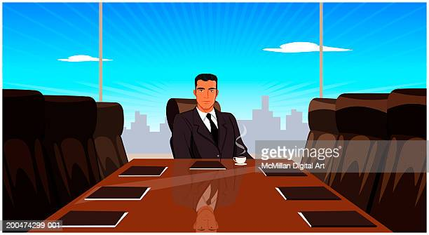 businessman sitting at conference table - meeting stock illustrations