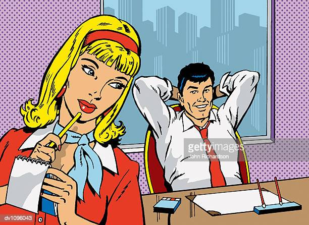 Businessman Sitting at His Desk With His Hands Behind His Head Flirting With His Secretary