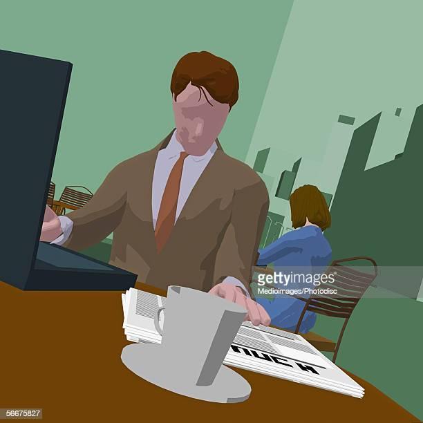 illustrations, cliparts, dessins animés et icônes de businessman sitting in front of a laptop - devant