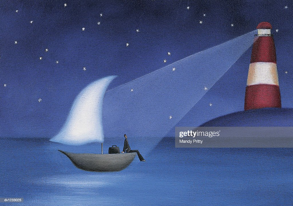 Businessman Sitting on a Boat at Sea Illuminated by a Lighthouse : Stock Illustration